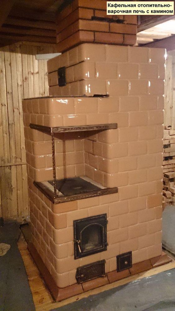 Отопительно-варочная печь с камином